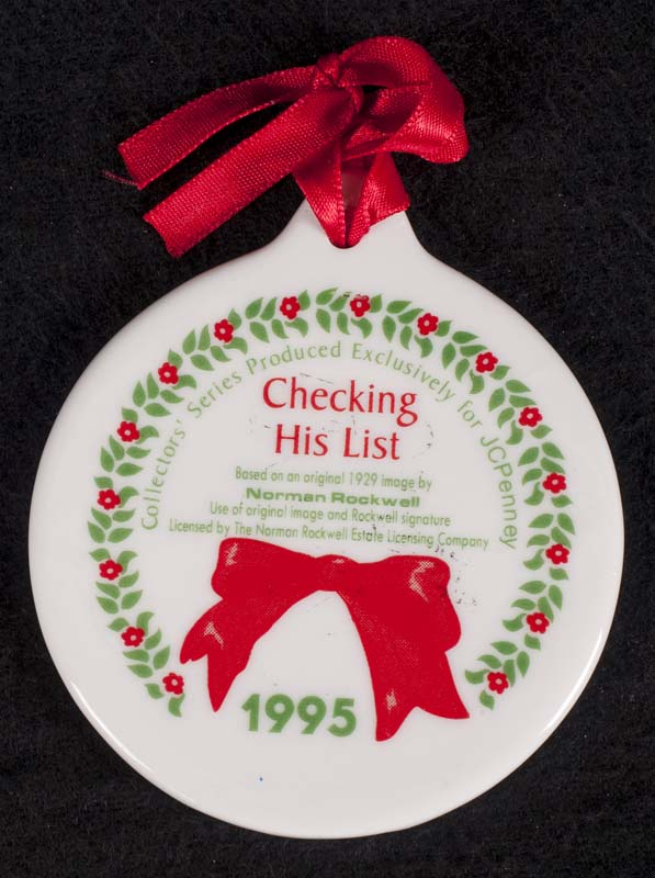 jcpenney exclusive norman rockwell checking his list christmas ornament vintage 1995