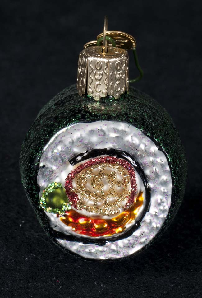 Old World Christmas The Merck Company Handpainted Glass Sushi Christmas  Ornament - Merck Old World Christmas Tree Glass Handpainted Ornament SUSHI ROLL