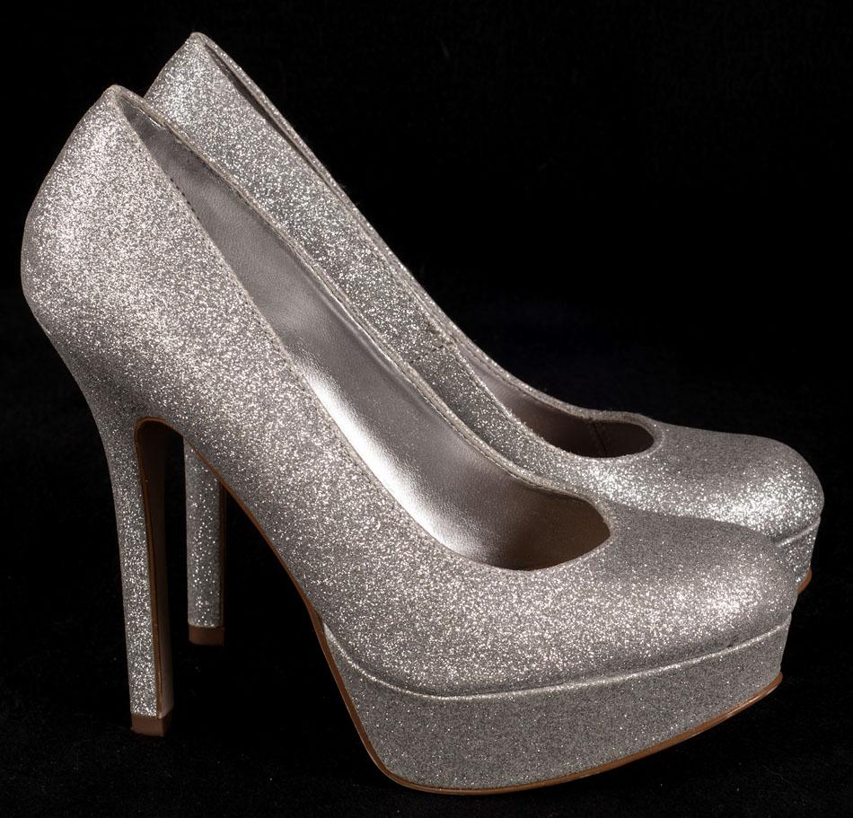 382e8297dc8 Details about Brash Kosmic Silver Glitter Shoes Pump High Heel Stilletto  Drag Queen 7.5